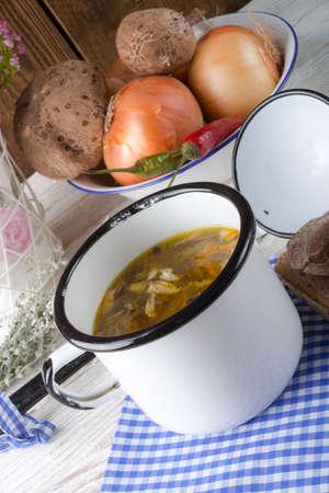 vegetarian parasol mushroom soup photo