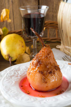 Pears in red wine photo