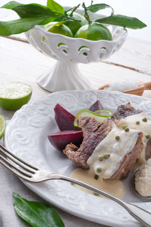 horseradish sauce: Beef with beetroot and horseradish sauce Stock Photo