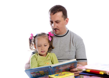 father with daughter in read photo