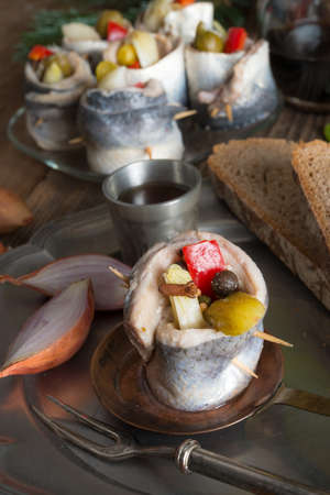 acetic:  Rollmops - pickled herring fillets Stock Photo