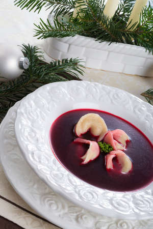Borsch with dumplings photo