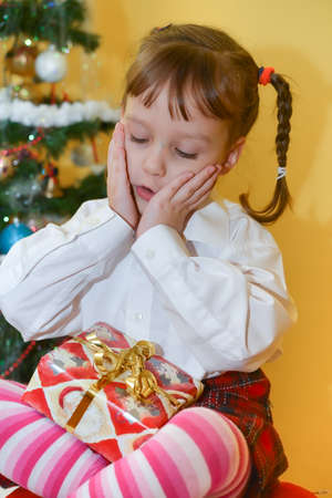 small girls with presents Stock Photo - 25058175