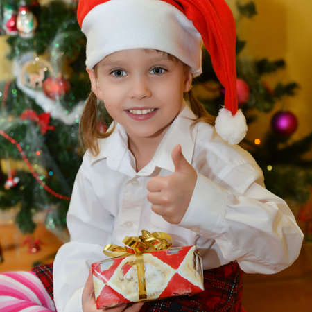 small girls with presents Stock Photo - 25143413