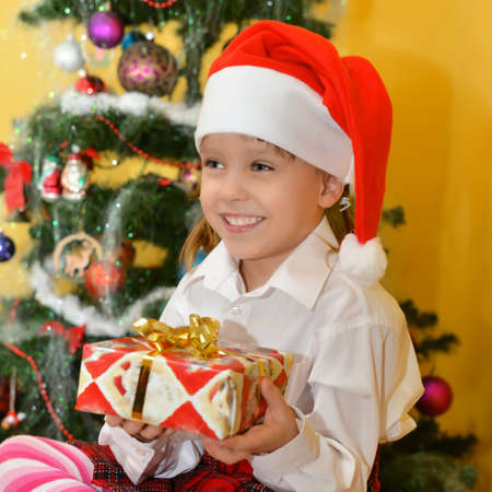 small girls with presents photo