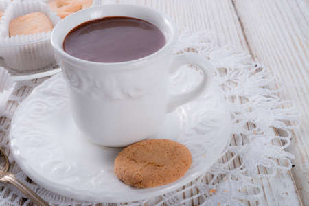 Hot chocolate with cookie photo