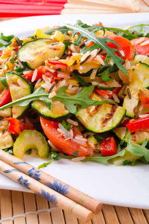vegetables vegetarian with wild rice photo