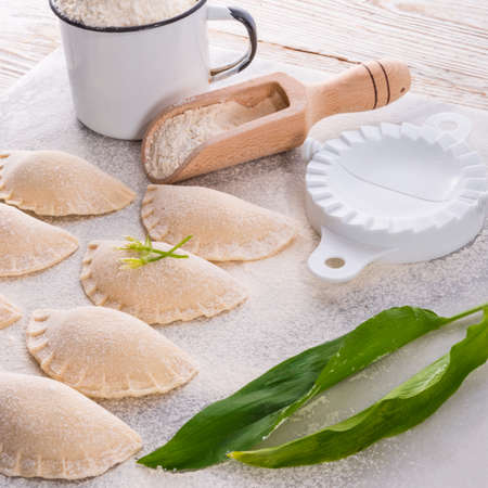 pierogi with wild garlic filling
