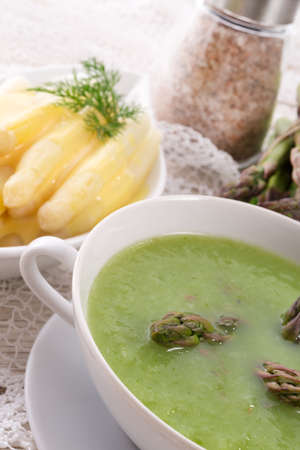 heals: Green asparagus soup Stock Photo