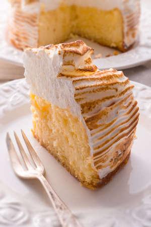 Cheesecake with Swiss meringue Stock Photo