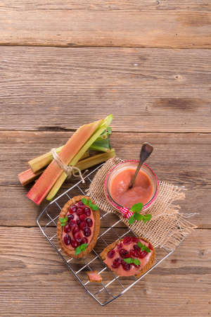 ure: rhubarb tartelette with cranberry Stock Photo