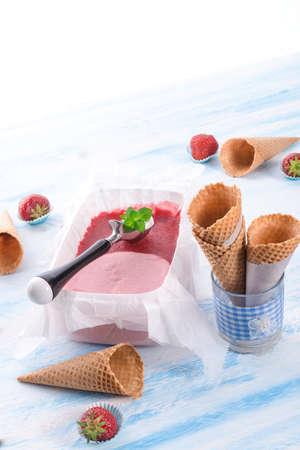homemade Strawberry ice photo