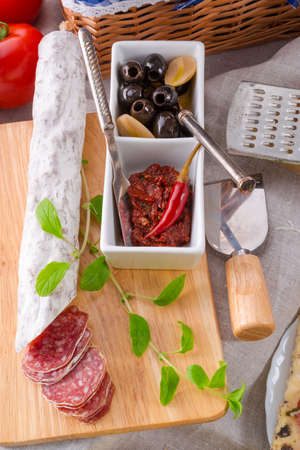 porc: Pur porc salami and antipasti Stock Photo