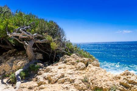 azur: Coast in Cote d Azur Stock Photo