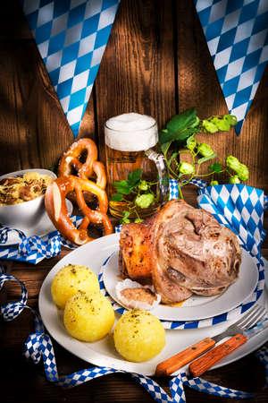 Schweinshaxe - pork knuckle on Bavarian photo
