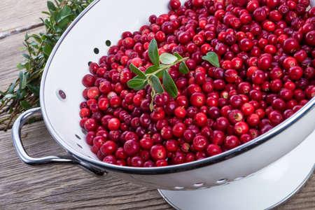 a colander: cranberries in a colander