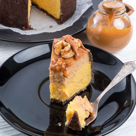 Pumpkin cheesecake with nuts photo