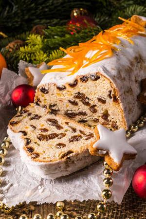 Christmas Stollen with orange julienne photo