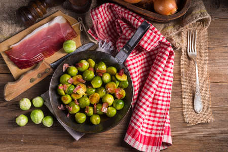 caramelized: Honey caramelized brussels sprouts with ham
