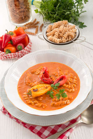 pepper soup also full grain noodles photo