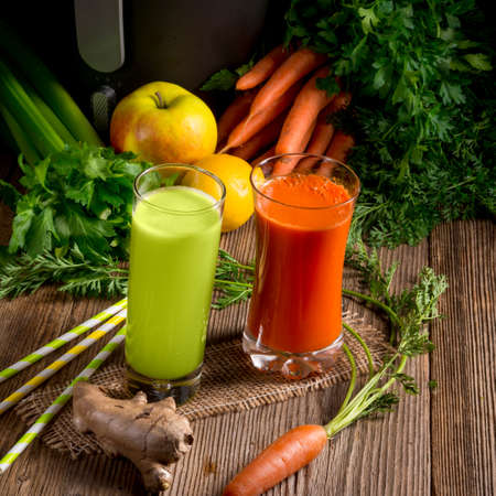 Freshly squeezed vegetable juices Stock Photo