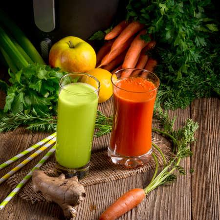 Freshly squeezed vegetable juices Archivio Fotografico