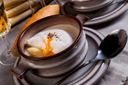 poached: Asparagus Soup with poached egg