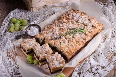 gooseberries: Gooseberries chocolate cake Stock Photo