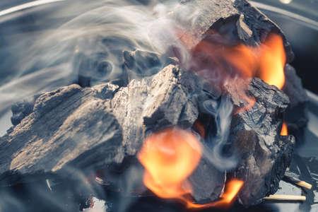 smolder: Burning Charcoal Stock Photo
