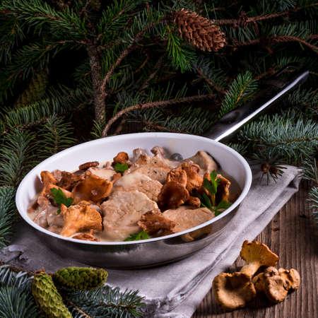 tenderloin: Pork tenderloin with chanterelle sauce Stock Photo