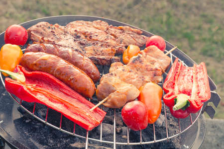 bbq grill: grilled sausage