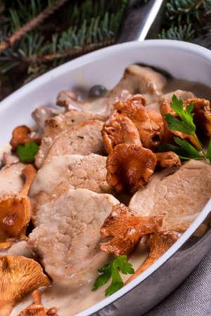 tenderloin: Pork tenderloin with Chanterelle sauce