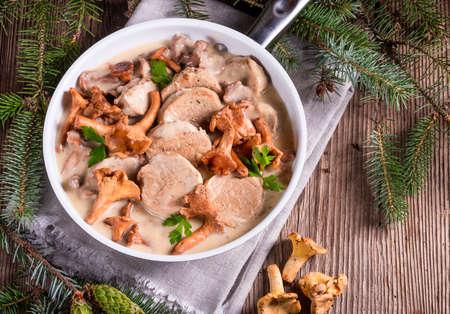pork tenderloin: Pork tenderloin with Chanterelle sauce