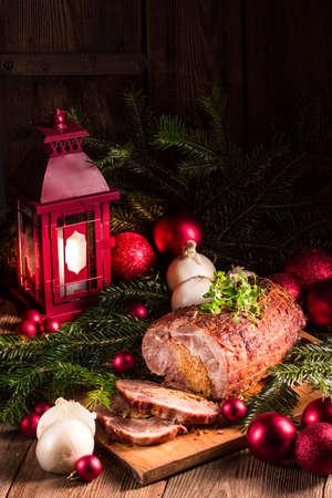 Roast with onion stuffing Stock Photo