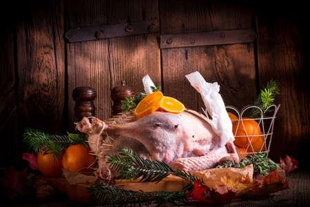 marinade: Raw goose in marinade