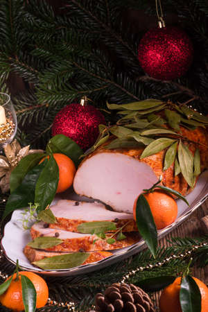 piquant: aromatic turkey roast in piquant marinade and Bay laurel