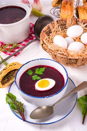 beet green soup with egg Zdjęcie Seryjne