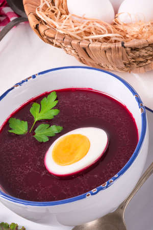polish lithuanian: beet green soup with egg Stock Photo