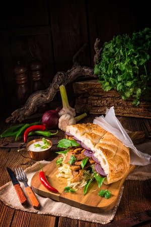 pita: Gyros pita with wild garlic Stock Photo