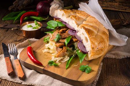 gyros: Gyros pita with wild garlic Stock Photo