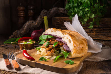 Gyros pita with wild garlic Stock Photo