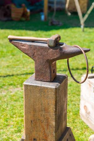 medieval blacksmith: armourer Stock Photo