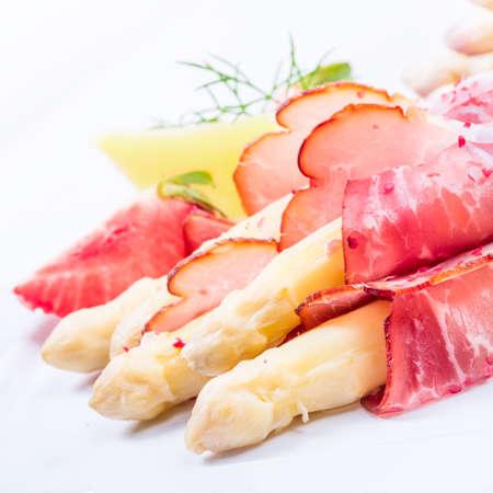 Baked asparagus with ham Stock Photo