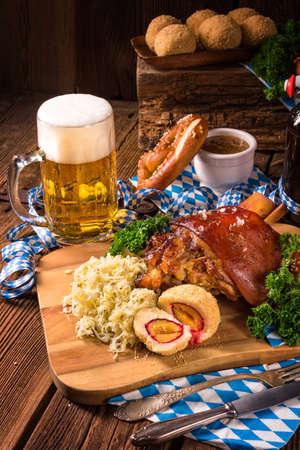 oktoberfest pork with Sauerkraut Stock Photo