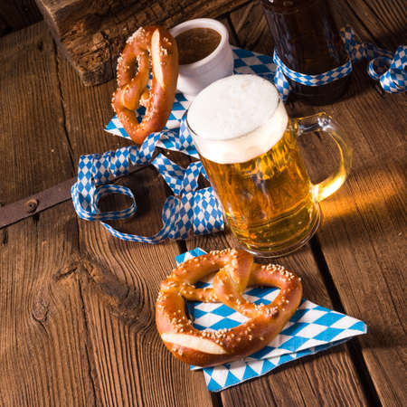 oktoberfest pretzel and beer