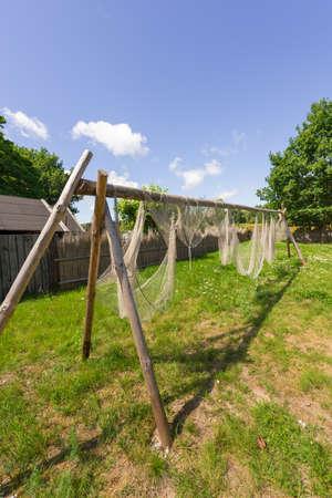 fishing village: old fishing net Stock Photo