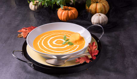 pumpkin soup: Pumpkin Soup with Orange Stock Photo