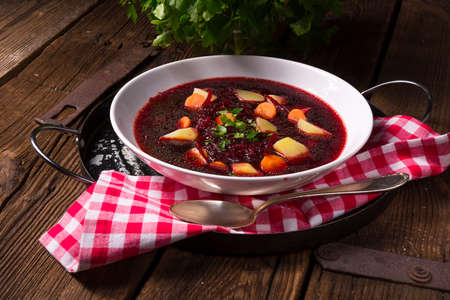 polish lithuanian: Polish Borscht Stock Photo