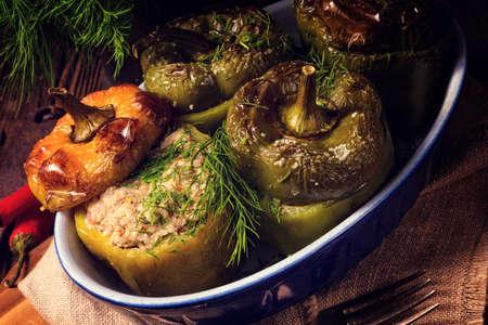 nahaufnahme: Stuffed peppers Stock Photo