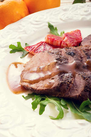 Pink fried duck breast